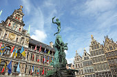 Brabo Statue and City Hall of Antwerp Belgium