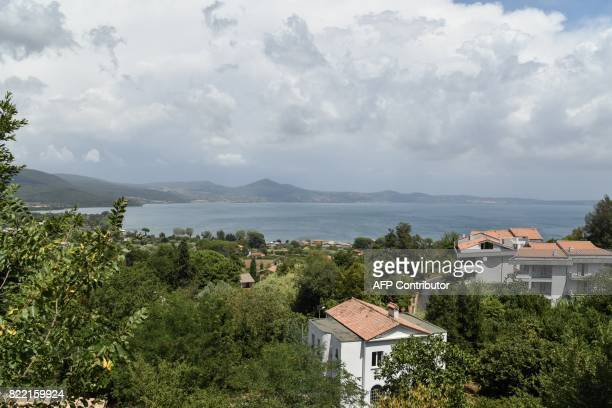 Bracciano lake a reservoir that provides water to Rome is pictured on July 25 2017 in Bracciano some 35 kilometers northeast of Rome as the mayor of...