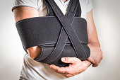 Man wearing a brace for the shoulder