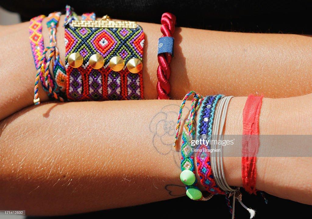 Bracelets detail at Milan Fashion Week Menswear Spring/Summer 2014 on June 23, 2013 in Milan, Italy