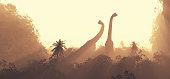 Brachiosaurus dinosaurs traveling through nature. This is a 3d render illustration