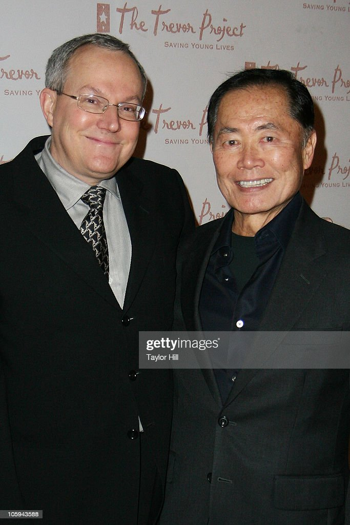 Brad Altman (L) and George Takei attend the Trevor's Fall Fete at Theory Flagship Store on October 21, 2010 in New York City.