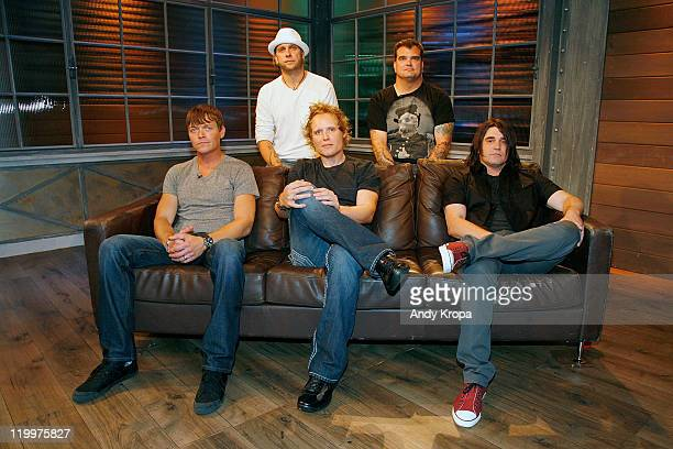 Brad Arnold Matt Roberts Greg Upchurch and Todd Harrell and Chris Henderson of Three Doors Down visit fuse Studios on July 27 2011 in New York City