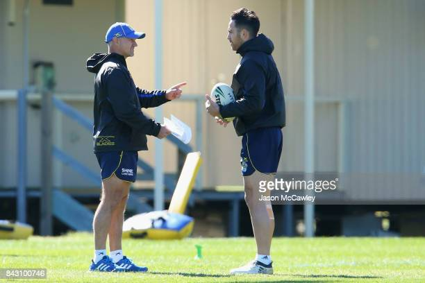 Brad Arthur head coach speaks to Corey Norman of the Eels during a Parramatta Eels NRL training session at Old Saleyards Reserve on September 6 2017...