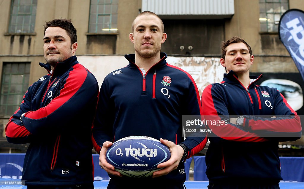 Brad Barrit (L) Mike Brown (C) and Alex Goode during the Launch of the O2 Touch Campaign on February 12, 2013 in London, England.