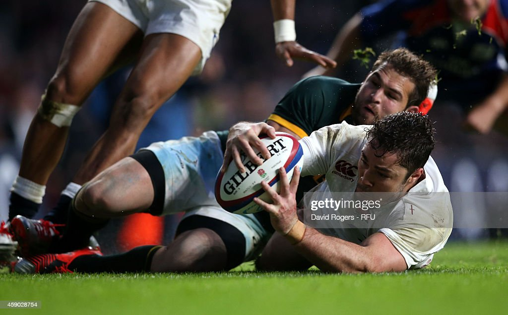 Brad Barrit of England dives over to score a try during the QBE Intenational match between England and South Africa at Twickenham Stadium on November 15, 2014 in London, England.