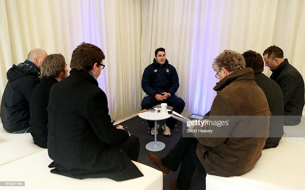 Brad Barrit of England talks to the media during the Launch of the O2 Touch Campaign on February 12, 2013 in London, England.