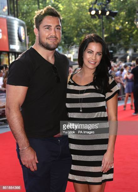 Brad Barritt and Georgia arriving for the premiere of Alan Partridge Alpha Papa at the Vue West End in Leicester Square central London