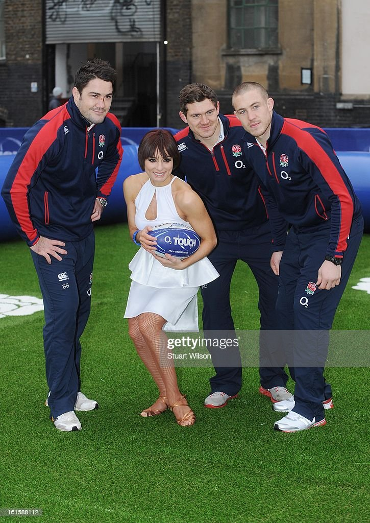 <a gi-track='captionPersonalityLinkClicked' href=/galleries/search?phrase=Brad+Barritt&family=editorial&specificpeople=4542508 ng-click='$event.stopPropagation()'>Brad Barritt</a>, Flavia Cacace, <a gi-track='captionPersonalityLinkClicked' href=/galleries/search?phrase=Alex+Goode&family=editorial&specificpeople=2060375 ng-click='$event.stopPropagation()'>Alex Goode</a> and Mike Brown attend a photocall to launch the National Touch Rugby Campaign at Ely's Yard on February 12, 2013 in London, England.