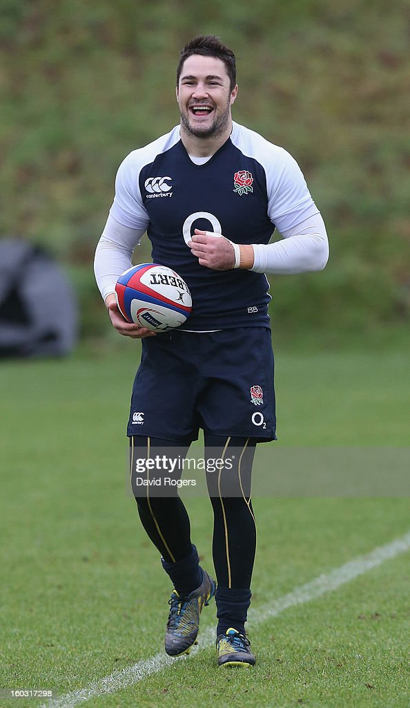 Brad Barritt, laughs during the England training session at Pennyhill Park on January 29, 2013 in Bagshot, England.