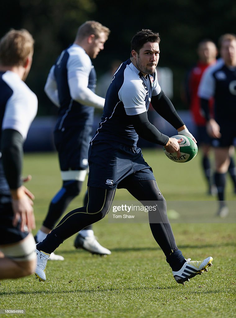 <a gi-track='captionPersonalityLinkClicked' href=/galleries/search?phrase=Brad+Barritt&family=editorial&specificpeople=4542508 ng-click='$event.stopPropagation()'>Brad Barritt</a> of England in action during the England training session at Pennyhill Park on February 8, 2013 in Bagshot, England.