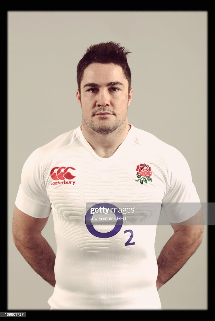 <a gi-track='captionPersonalityLinkClicked' href=/galleries/search?phrase=Brad+Barritt&family=editorial&specificpeople=4542508 ng-click='$event.stopPropagation()'>Brad Barritt</a> of England poses for a portrait during the England rugby union squad photo call at Weetwood Hall on January 21, 2013 in Leeds, England.