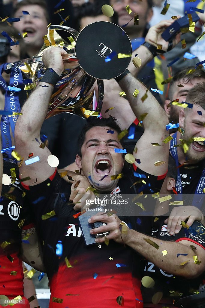 <a gi-track='captionPersonalityLinkClicked' href=/galleries/search?phrase=Brad+Barritt&family=editorial&specificpeople=4542508 ng-click='$event.stopPropagation()'>Brad Barritt</a> of Saracens lifts the trophy after winning the European Rugby Champions Cup Final match between Racing 92 and Saracens at the Stade de Lyon on May 14, 2016 in Lyon, France.