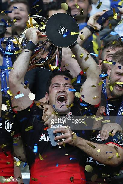 Brad Barritt of Saracens lifts the trophy after winning the European Rugby Champions Cup Final match between Racing 92 and Saracens at the Stade de...