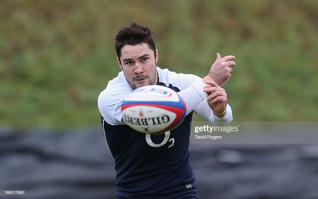 Brad Barritt, passes the ball during the England training session at Pennyhill Park on January 29, 2013 in Bagshot, England.