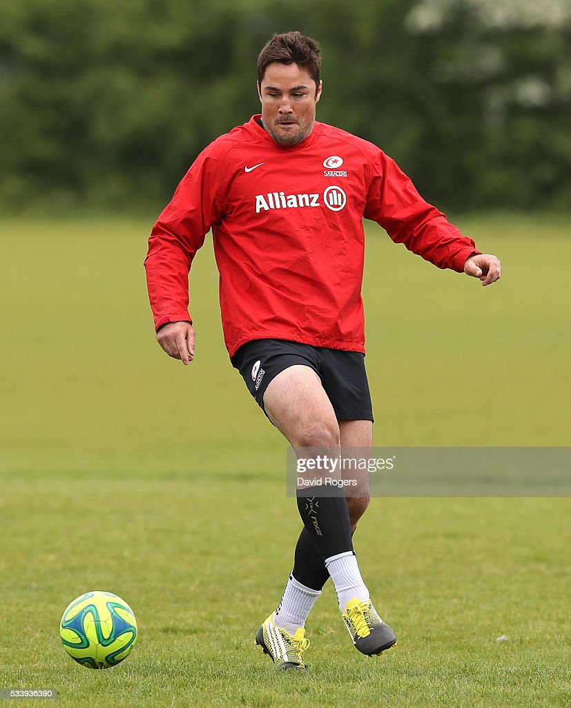 Brad Barritt plays a game of football during the Saracens training session held on May 24, 2016 in St Albans, England.