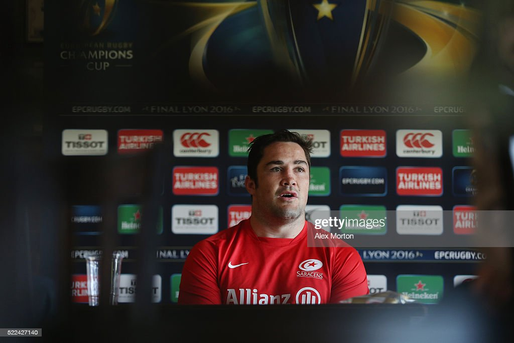<a gi-track='captionPersonalityLinkClicked' href=/galleries/search?phrase=Brad+Barritt&family=editorial&specificpeople=4542508 ng-click='$event.stopPropagation()'>Brad Barritt</a> talks to journalists during the Saracens media session at Old Albanian Rugby Football Club on April 19, 2016 in St Albans, England.