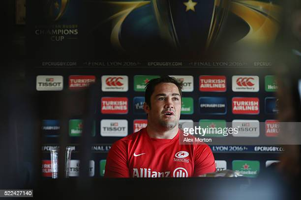 Brad Barritt talks to journalists during the Saracens media session at Old Albanian Rugby Football Club on April 19 2016 in St Albans England