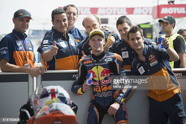 Brad Binder of South Africa and Red Bull KTM Ajo celebrates with team during the MotoGp of Argentina Qualifying at Termas De Rio Hondo Circuit on...