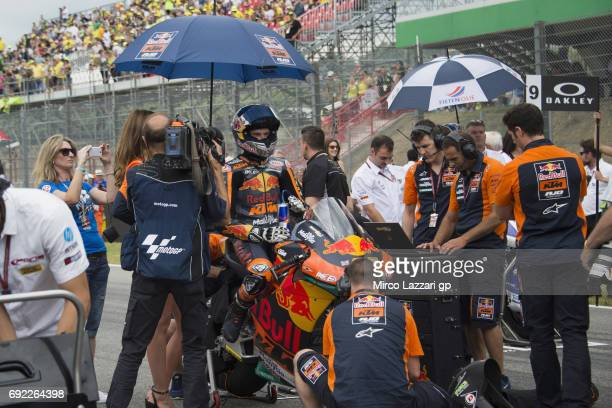 Brad Binder of South Africa and Red Bull KTM Ajo prepares to start on the grid during the Moto2 race during the MotoGp of Italy Race at Mugello...