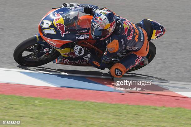 Brad Binder of South Africa and Red Bull KTM Ajo rounds the bend during the MotoGp of Argentina Free Practice at Termas De Rio Hondo Circuit on April...