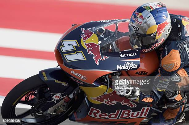 Brad Binder of team Red Bull KTM Ajo in action during Moto3 Free Practice at Misano World Circuit on September 9 2016 in Misano Adriatico Italy