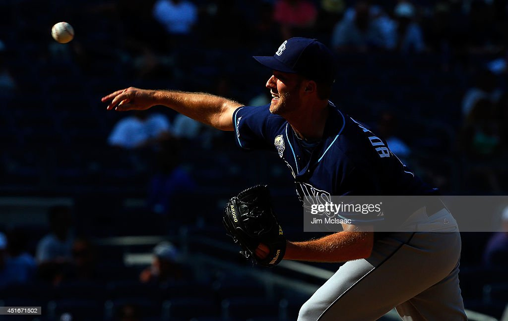 Brad Boxberger #26 of the Tampa Bay Rays in action against the New York Yankees at Yankee Stadium on July 2, 2014 in the Bronx borough of New York City. The Rays defeated the Yankees 6-3.