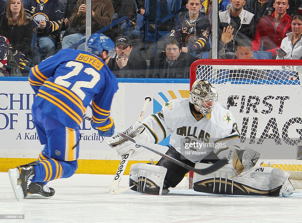 <a gi-track='captionPersonalityLinkClicked' href=/galleries/search?phrase=Brad+Boyes&family=editorial&specificpeople=275014 ng-click='$event.stopPropagation()'>Brad Boyes</a> #22 of the Buffalo Sabres scores a shootout goal against <a gi-track='captionPersonalityLinkClicked' href=/galleries/search?phrase=Kari+Lehtonen&family=editorial&specificpeople=211612 ng-click='$event.stopPropagation()'>Kari Lehtonen</a> #32 of the Dallas Stars at First Niagara Center on February 10, 2012 in Buffalo, New York.