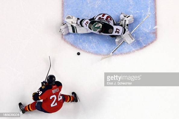 Brad Boyes of the Florida Panthers shoots and scores against Goaltender Josh Harding of the Minnesota Wild in a shoot out at the BBT Center on...