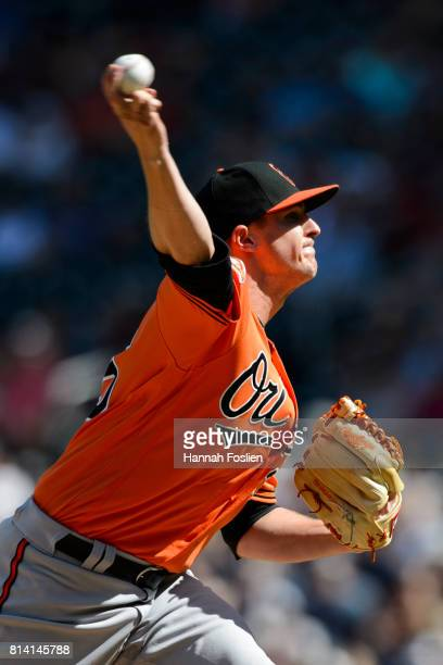 Brad Brach of the Baltimore Orioles delivers a pitch against the Minnesota Twins during the game on July 8 2017 at Target Field in Minneapolis...