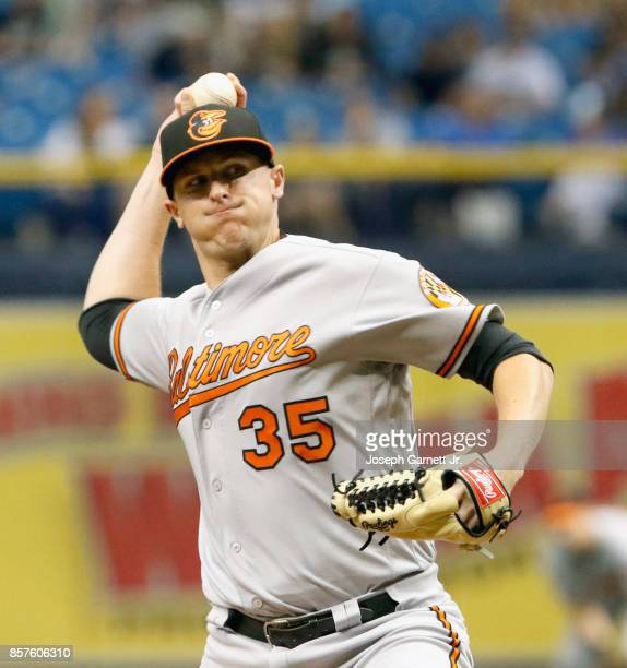 Brad Brach of the Baltimore Orioles delivers a pitch during the eighth inning of the game against the Tampa Bay Rays at Tropicana Field on October 1...