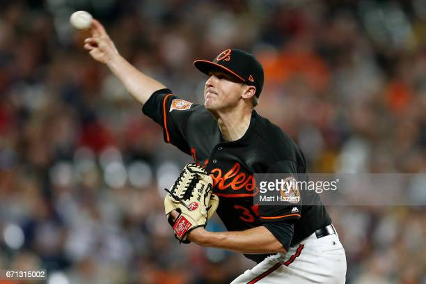 Brad Brach of the Baltimore Orioles pitches against the Boston Red Sox in the ninth inning at Oriole Park at Camden Yards on April 21 2017 in...