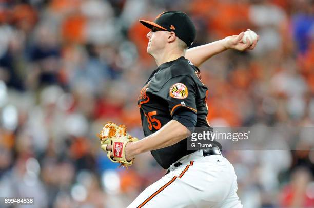 Brad Brach of the Baltimore Orioles pitches against the Boston Red Sox at Oriole Park at Camden Yards on June 2 2017 in Baltimore Maryland