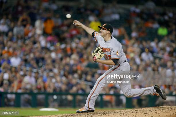Brad Brach of the Baltimore Orioles pitches against the Detroit Tigers at Comerica Park on May 16 2017 in Detroit Michigan
