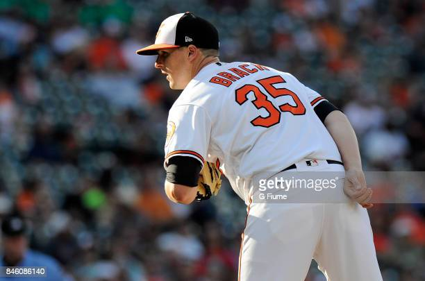 Brad Brach of the Baltimore Orioles pitches against the Oakland Athletics at Oriole Park at Camden Yards on August 23 2017 in Baltimore Maryland