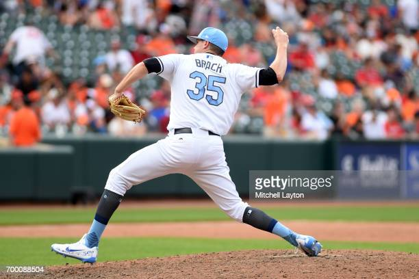 Brad Brach of the Baltimore Orioles pitches during a baseball game against the St Louis Cardinals at Oriole Park at Camden Yards on June 18 2017 in...
