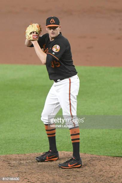 Brad Brach of the Baltimore Orioles pitches during a baseball game against the Tampa Bay Rays at Oriole Park at Camden Yards on June 30 2017 in...