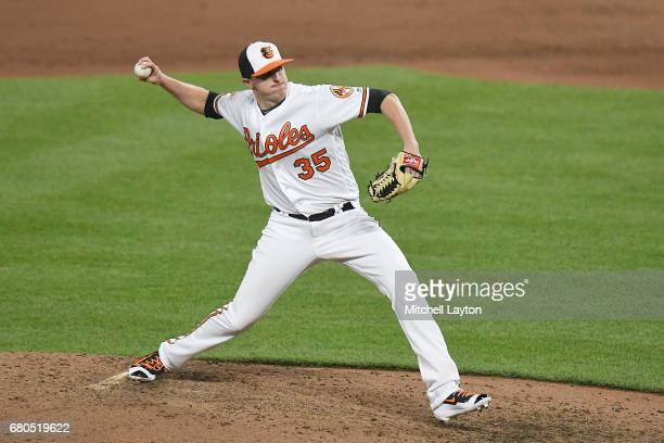 Brad Brach of the Baltimore Orioles pitches in ninth inning for his eight save during a baseball game against the Washington Nationals at Oriole Park...
