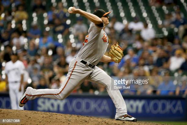 Brad Brach of the Baltimore Orioles pitches in the eighth inning against the Milwaukee Brewers at Miller Park on July 05 2017 in Milwaukee Wisconsin
