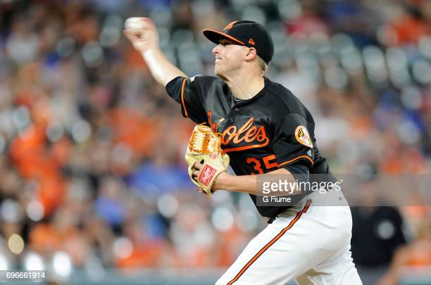 Brad Brach of the Baltimore Orioles pitches in the ninth inning against the Toronto Blue Jays at Oriole Park at Camden Yards on May 19 2017 in...