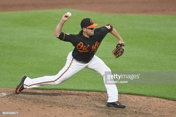 Brad Brach of the Baltimore Orioles pitches in the tenth inning during a baseball game against the Tampa Bay Rays at Oriole Park at Camden Yards on...