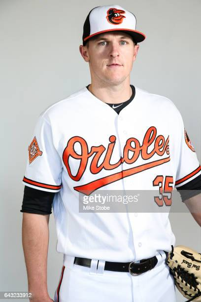 Brad Brach of the Baltimore Orioles poses for a portait during a MLB photo day at Ed Smith Stadium on February 20 2017 in Sarasota Florida
