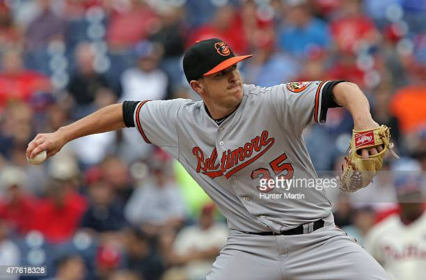 Brad Brach of the Baltimore Orioles throws a pitch in the eighth inning during a game against the Philadelphia Phillies at Citizens Bank Park on June...