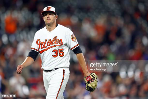 Brad Brach of the Baltimore Orioles walks off the mound during the game against the Toronto Blue Jays at Oriole Park at Camden Yards on Wednesday...