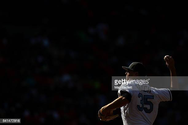 Brad Brach of the Baltimore Orioles works in the ninth inning against the Toronto Blue Jays at Oriole Park at Camden Yards on June 19 2016 in...