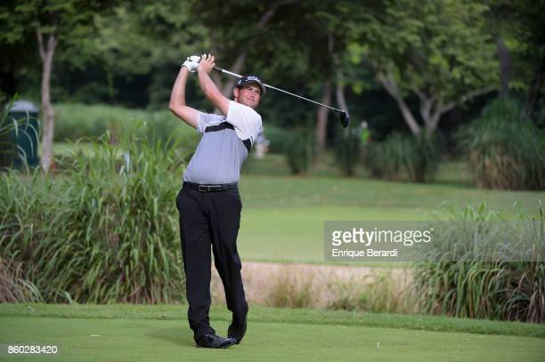 Brad Brunner of the United States tees off on the 16th hole during the final round of the PGA TOUR Latinoamérica Flor de Cana Open at Mukul Beach...