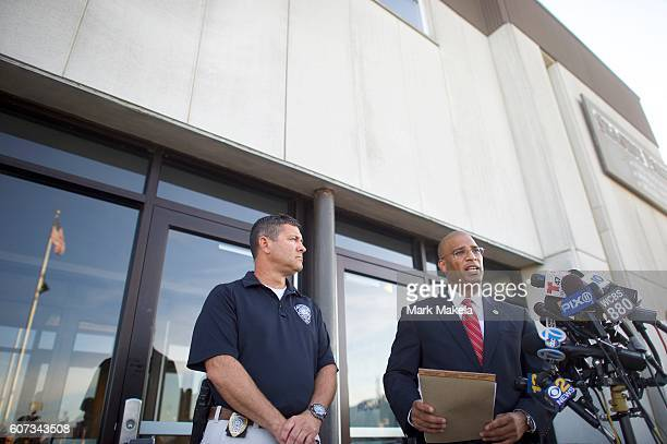 Brad Cohen acting special FBI agent in charge for the Newark NJ field office and Francis Larking Chief of Seaside Park Police address the media...