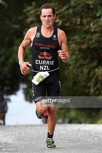 Brad Currie on the run leg of the Port of Tauranga Half Ironman on January 10 2015 in Tauranga New Zealand