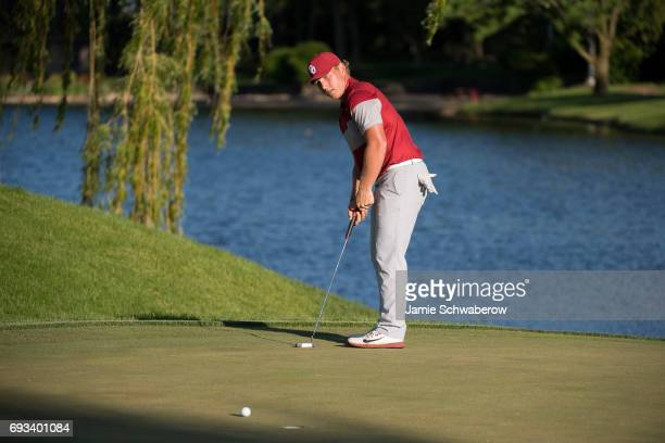 Brad Dalke of the University of Oklahoma putts during the Division I Men's Golf Team Championship held at Rich Harvest Farms on May 31 2017 in Sugar...
