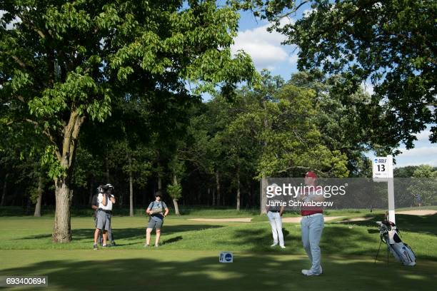 Brad Dalke of the University of Oklahoma tees off during the Division I Men's Golf Team Championship held at Rich Harvest Farms on May 31 2017 in...